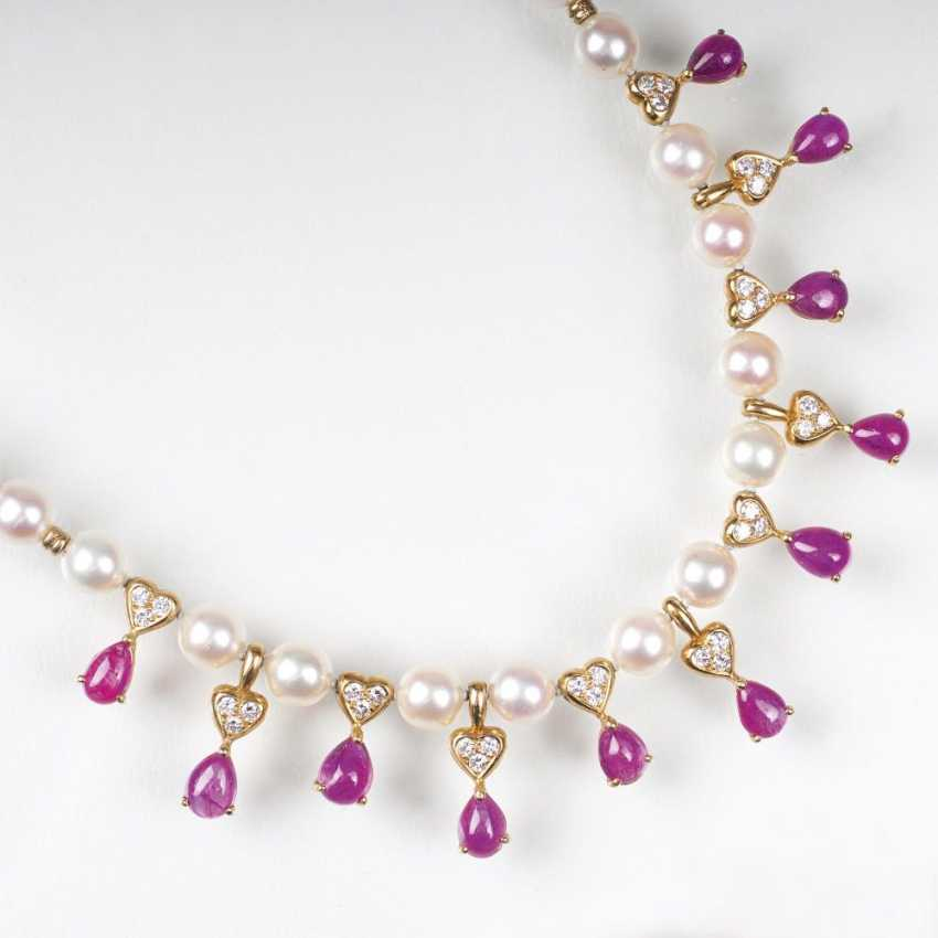 Beads Gold necklace with ruby trim - photo 1