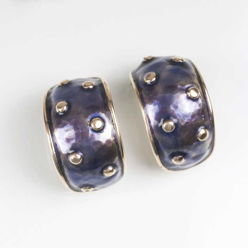 Pair of Gold clip-on earrings with enamel decor - photo 1