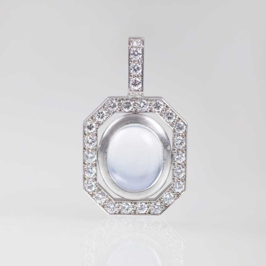 Moonstone And Diamond Pendant - photo 1