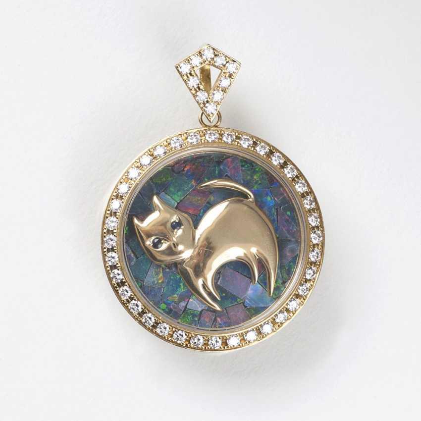 Vintage diamond Opal pendant with cat figure - photo 1