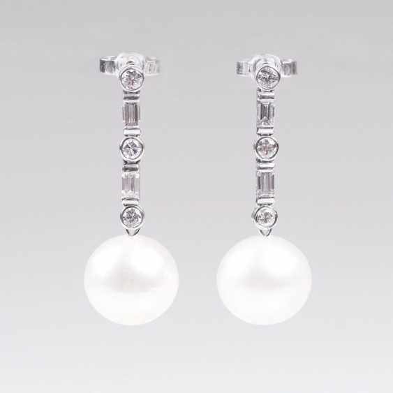 Pair Of South Sea Pearl And Diamond Earrings - photo 1