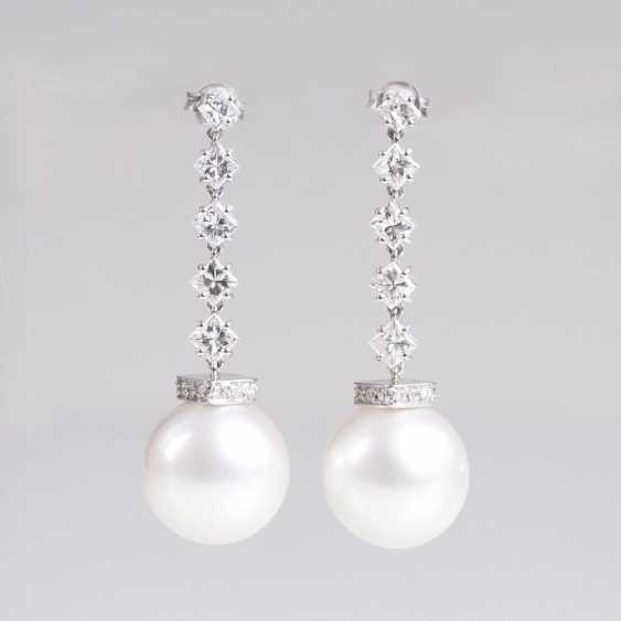 Pair of fine South sea pearls-diamond earrings - photo 1