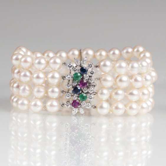 Vintage pearl bracelet with fine gemstone Clasp - photo 1