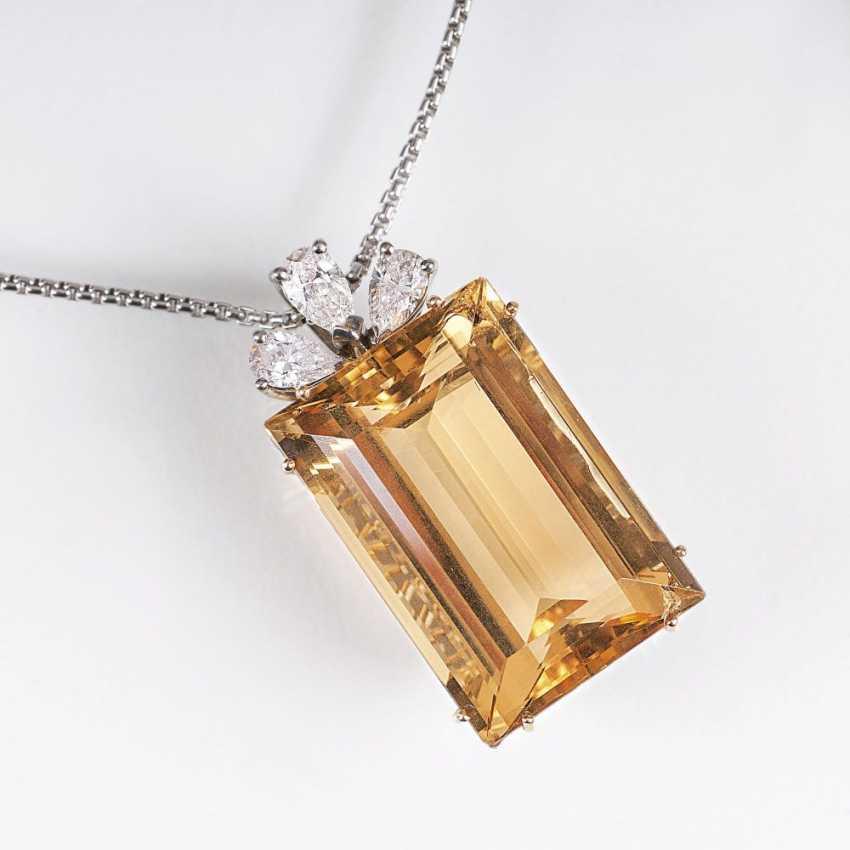 Citrine and diamond pendant with chain - photo 1