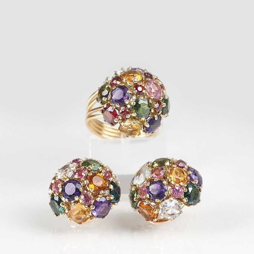 Color gems Demi-Parure with Ring and clip earrings - photo 1