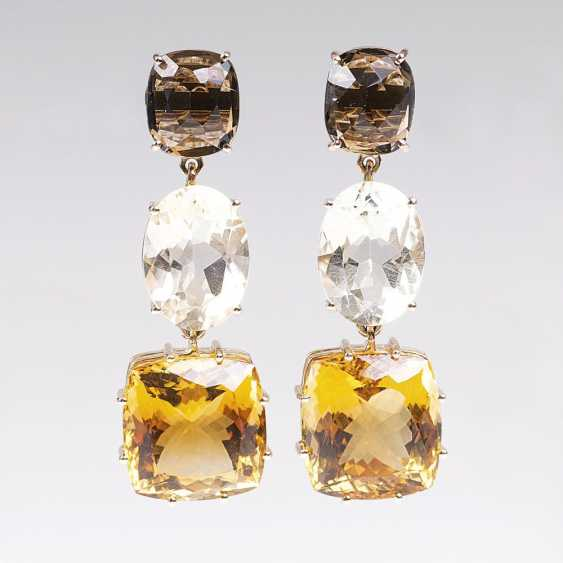 Color Fine Pair Of Smoky Quartz-Citrine-Earrings - photo 1