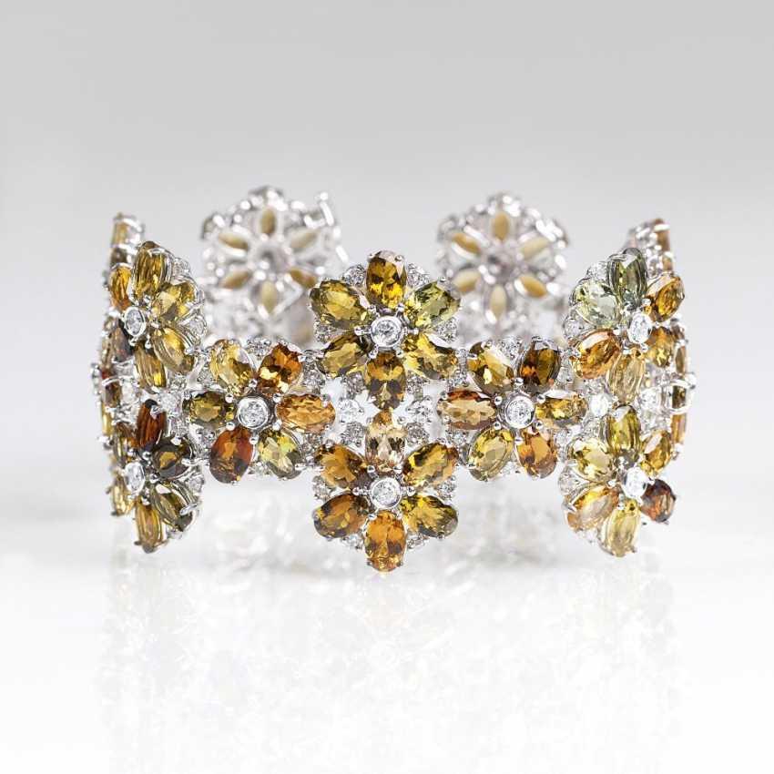 High quality tourmaline and diamond bracelet with flower decor - photo 1