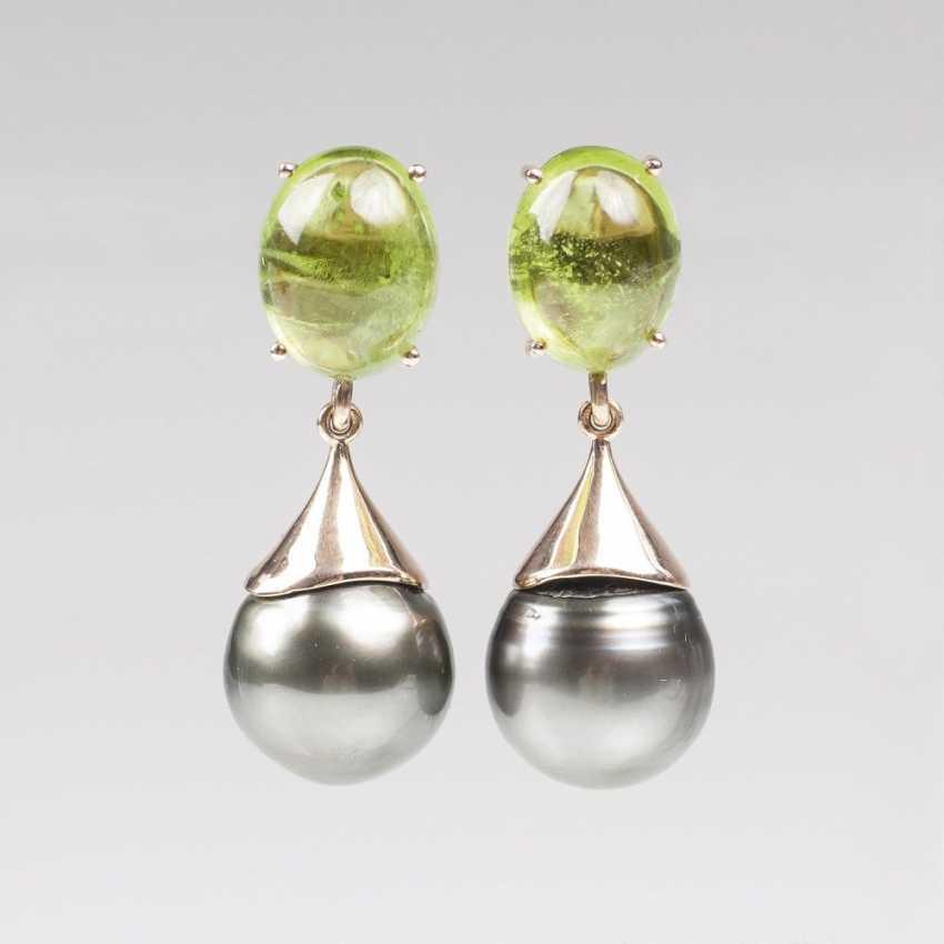Pair of Peridot earrings with Tahitian pearls - photo 1