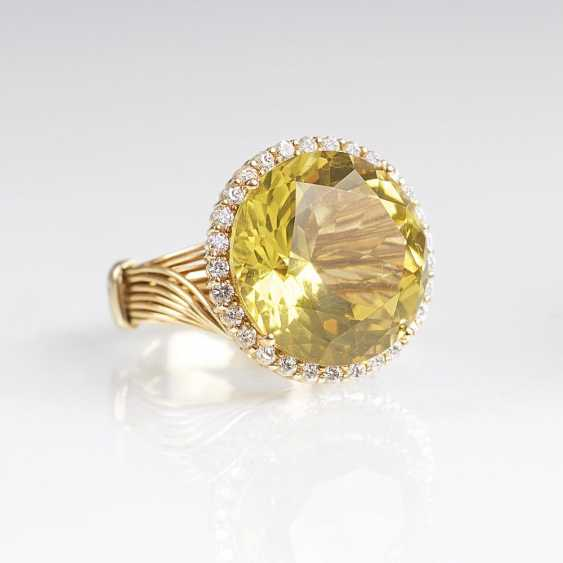 Großer Lemon-Citrin-Brillant-Ring - photo 1