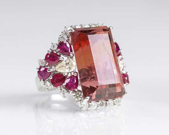 Cocktail Ring with super fine tourmaline-ruby-diamond-trim - photo 1