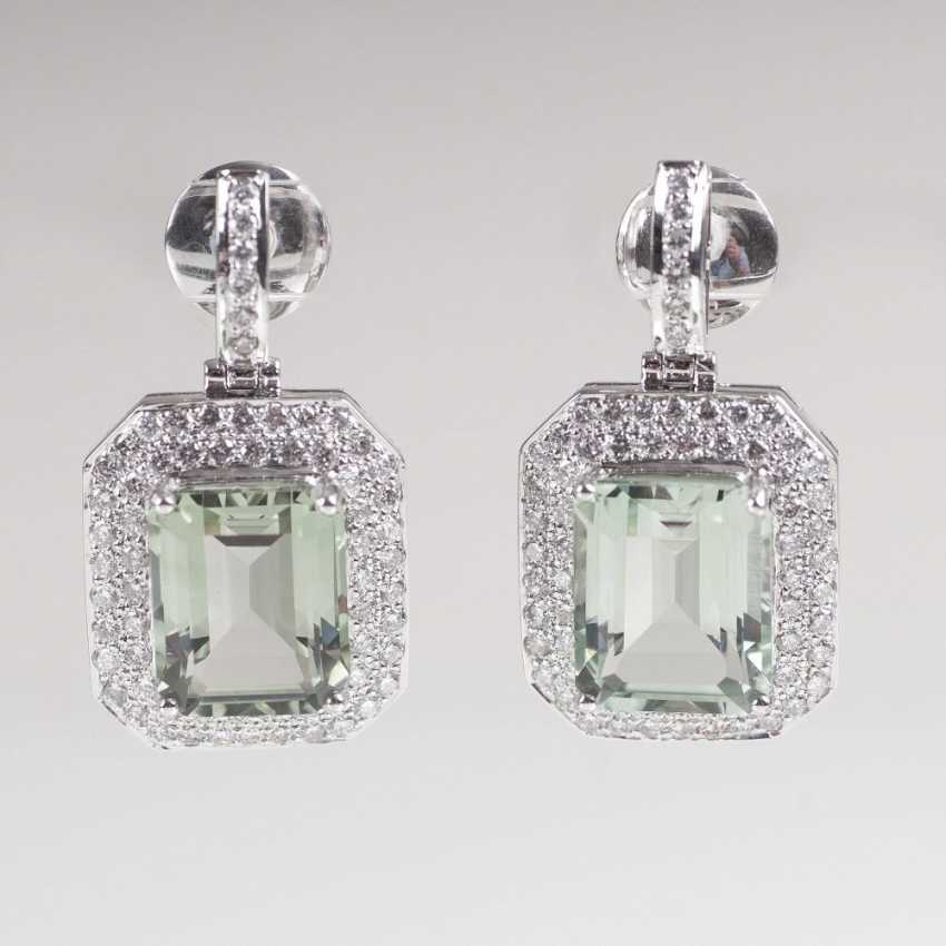 Pair of drop earrings with Prasiolite and brilliant-trim - photo 1