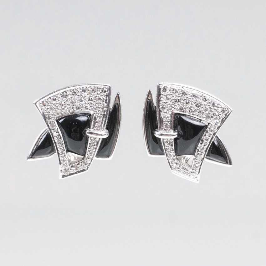 Pair Of Onyx And Diamond Ear Clips - photo 1