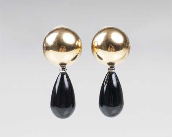 Pair of Gold clip-on earrings with two hanger pairs out of Onyx and agate - photo 1