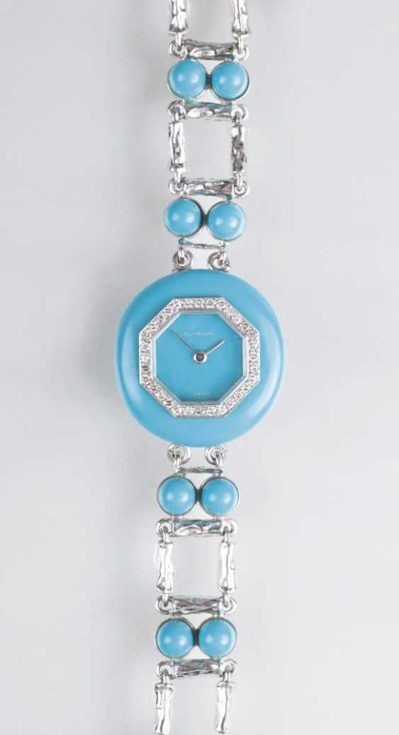 Jewelry-wrist watch with Turquoise and diamonds by jeweller Wilm - photo 1