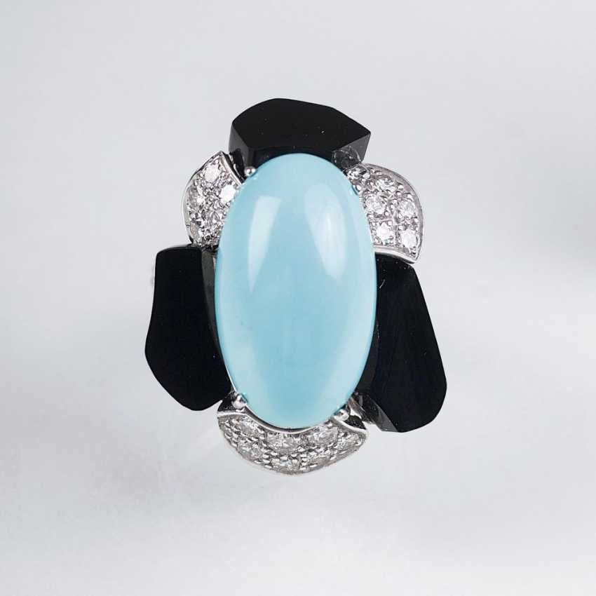 Turquoise Onyx Ring with diamond trim - photo 1