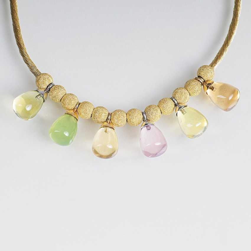 Fashionable color stone necklace of Golden silk chain - photo 1