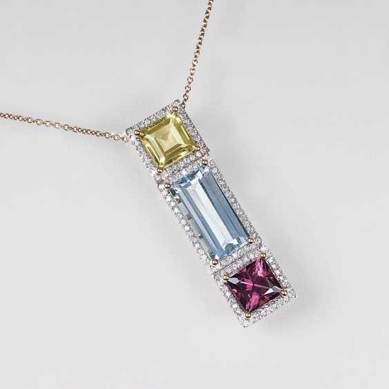 Fine color stone diamond pendant with chain - photo 1