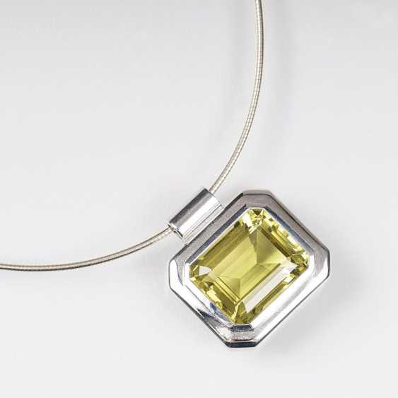 Modern Lemon citrine pendant on choker - photo 1