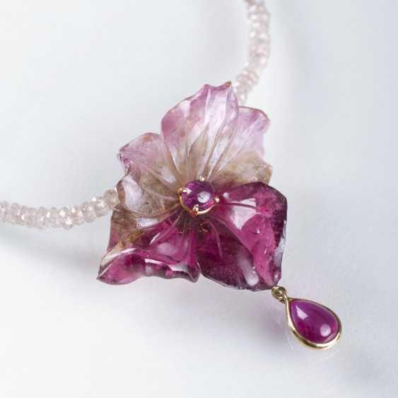 Tourmaline-ruby-flower on faceted quartz necklace - photo 1