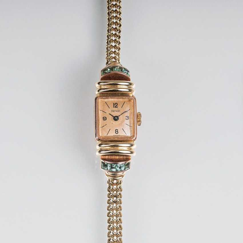 Art déco women's wrist watch with tourmaline-stocking of Herwalt - photo 1