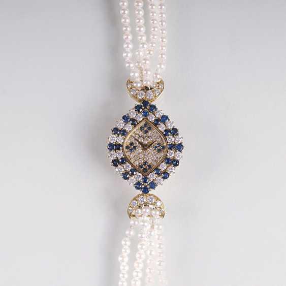 Ladies jewelry wrist watch with diamond and sapphire trim - photo 1