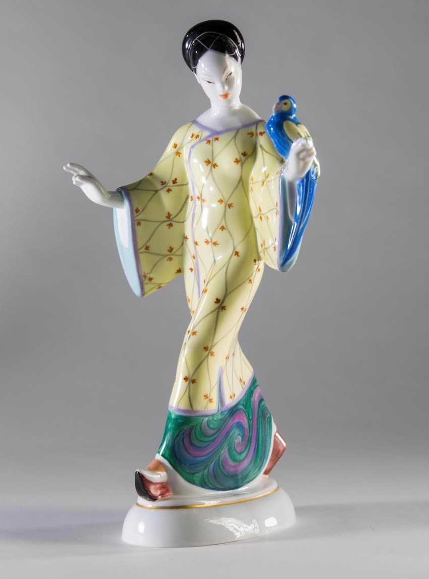 Chinese lady with parrot - photo 1