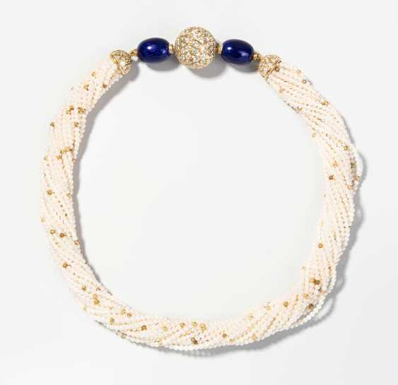 Brilliant-Email-Cultured Pearls Necklace - photo 1