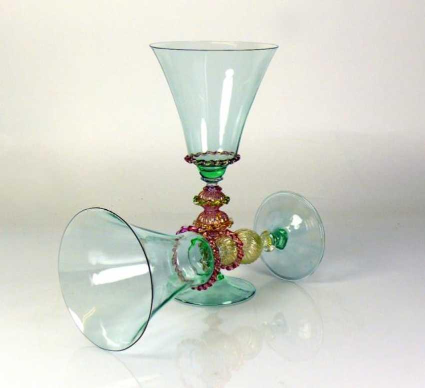 Pair of Venetian goblet glasses - photo 1