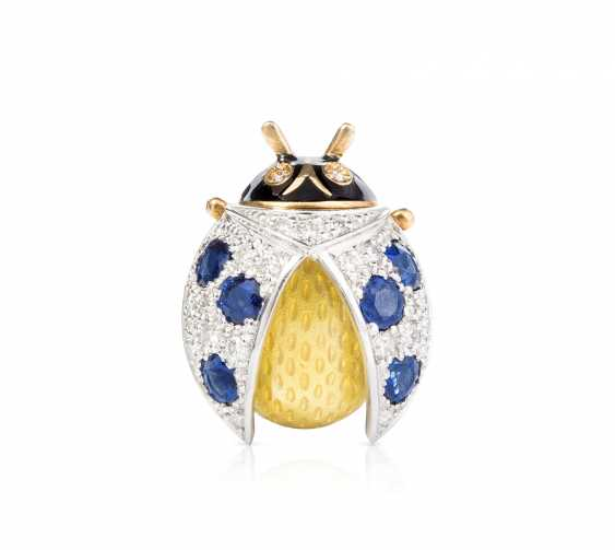 Sapphire And Diamond Enamel Brooch/Pendant - photo 1