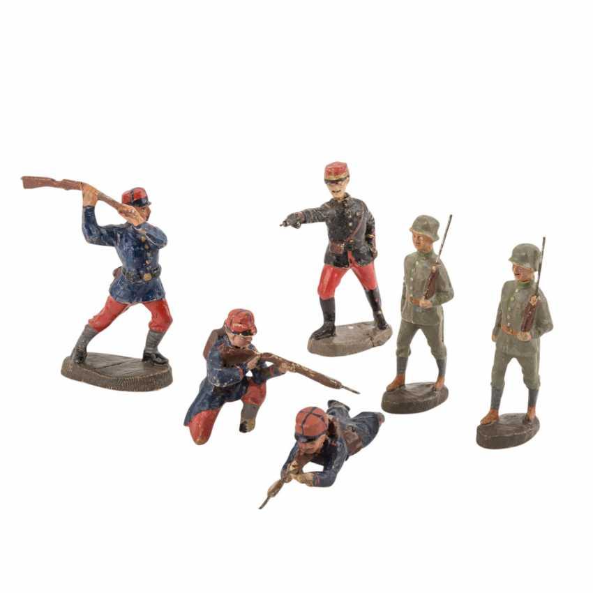ELASTOLIN convolute of six soldiers, 1. World war, - photo 1