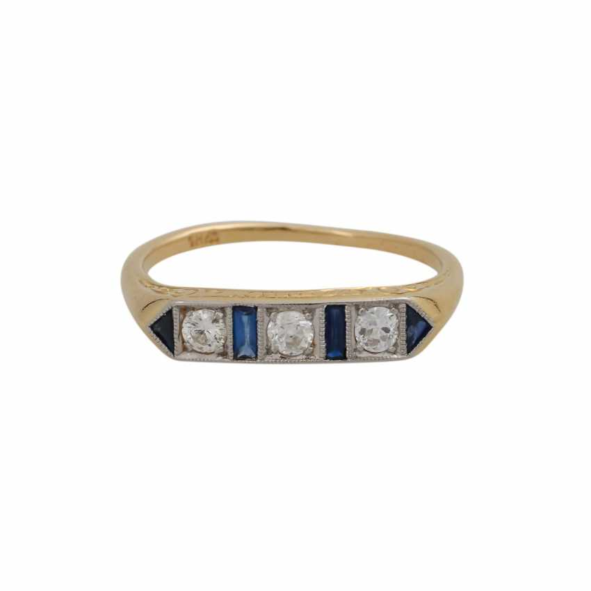 Art Deco Ring with 3 diamonds, approx 0.24 ct, - photo 1