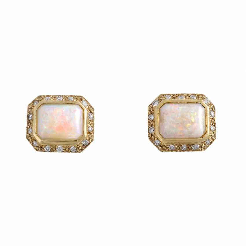 Stud earrings with 1 flat opal cabochon, octagonal - photo 1