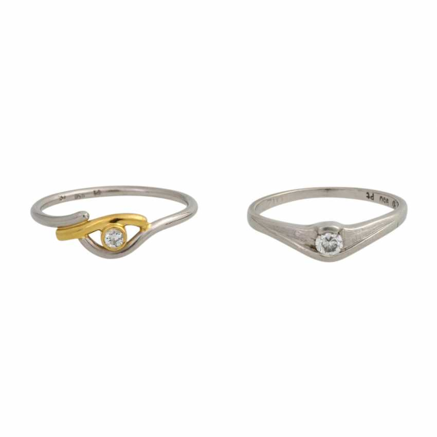 Set of 2 dainty rings with 1 diamond, - photo 1