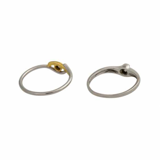 Set of 2 dainty rings with 1 diamond, - photo 3