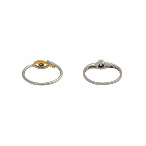 Set of 2 dainty rings with 1 diamond, - photo 4