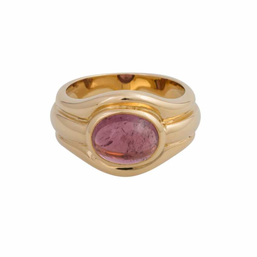 Ring with a pink tourmaline cabochon, oval, approx. 3,5 ct., - photo 1