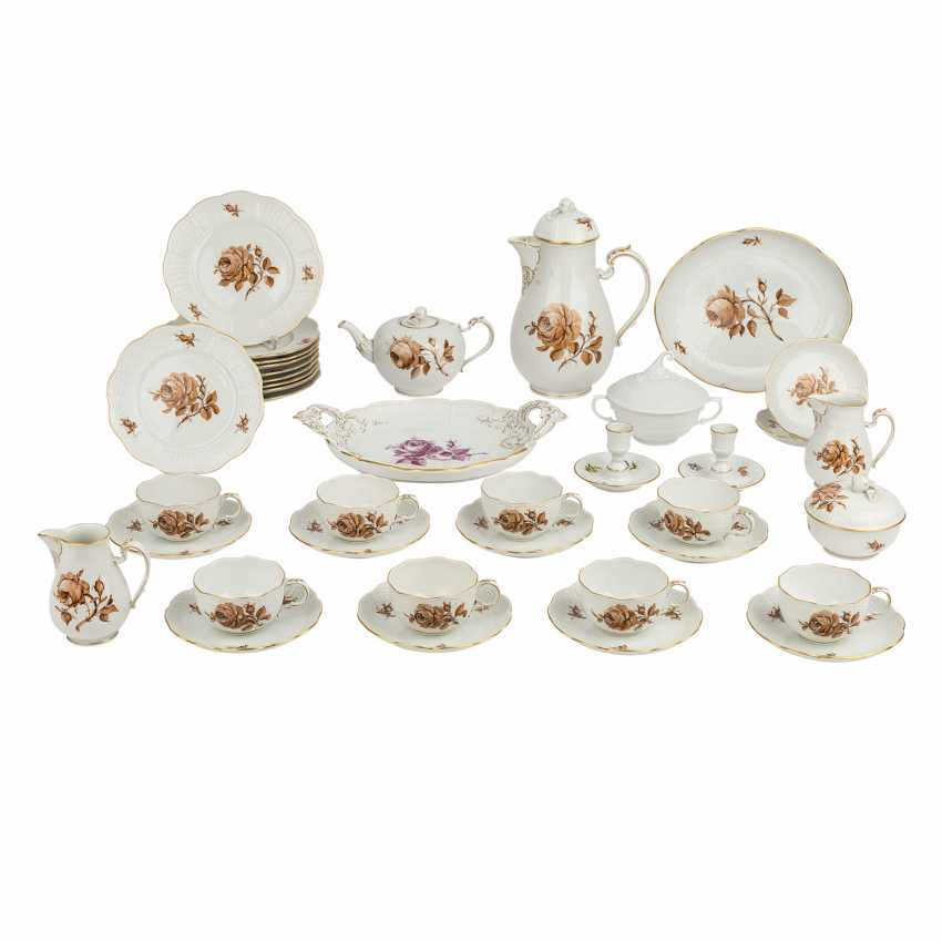 LUDWIGSBURG tea or coffee service for 8 people 'Brown Rose', 20. Century - photo 1