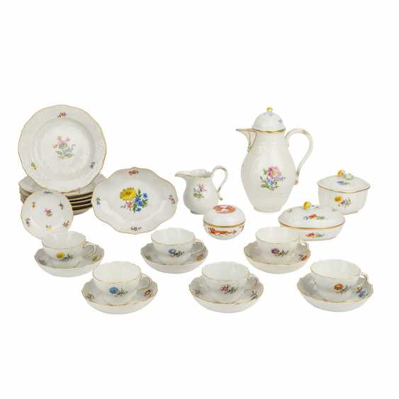 MEISSEN coffee service for 6 persons, German flower Neumarseille', 20. Century - photo 1