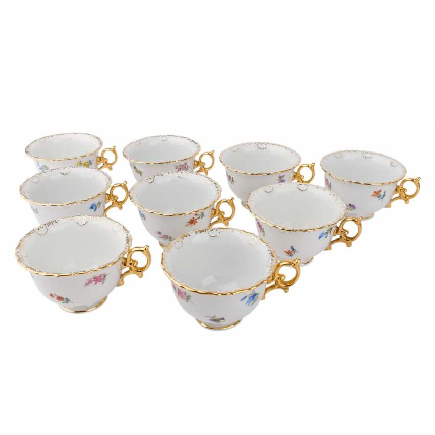 MEISSEN coffee service for 9 people 'scallop edge and scattered flowers', 20. Century. - photo 5