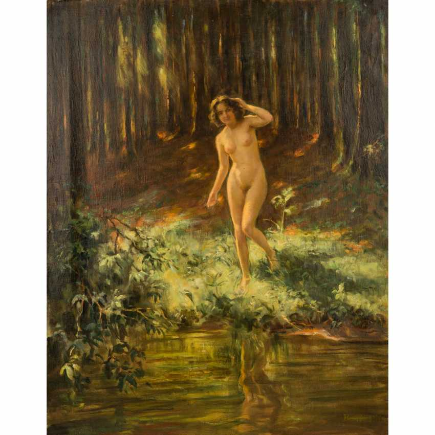 """HEMPFING, WILHELM (1886-1948), """"Female Nude on a riverbank in the forest standing"""" - photo 1"""