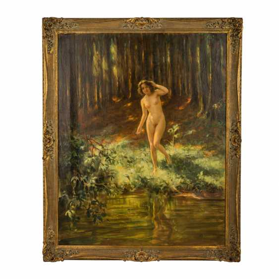 """HEMPFING, WILHELM (1886-1948), """"Female Nude on a riverbank in the forest standing"""" - photo 2"""