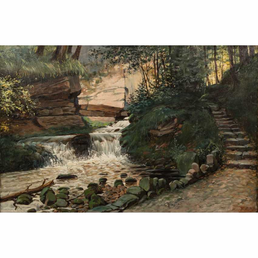 "ROTH, F. (painter 19./20. Century), ""wild river with rapids in the forest"" - photo 1"