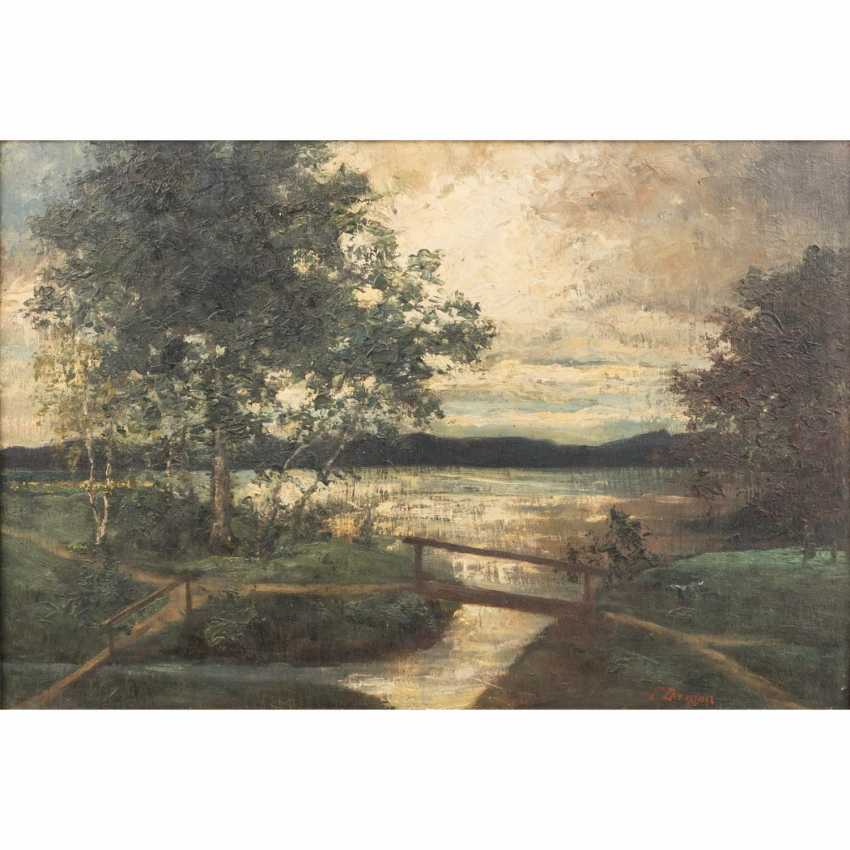 "DARGEN, ERNST (1866-1929) ""After the Storm"", landscape with stream and wooden bridge - photo 1"