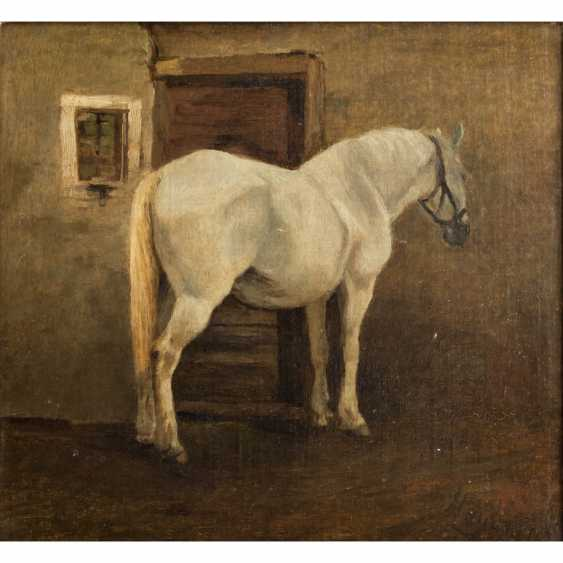 """Animal painter 19. Century, """"the horse in the stable"""" - photo 1"""
