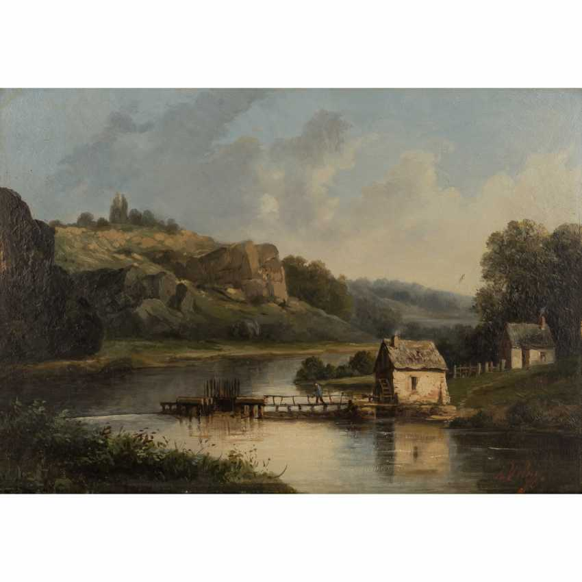 """VELAY, A. (painter/in 19./20. Century) """"cottages by the river in rocky hill landscape"""", - photo 1"""
