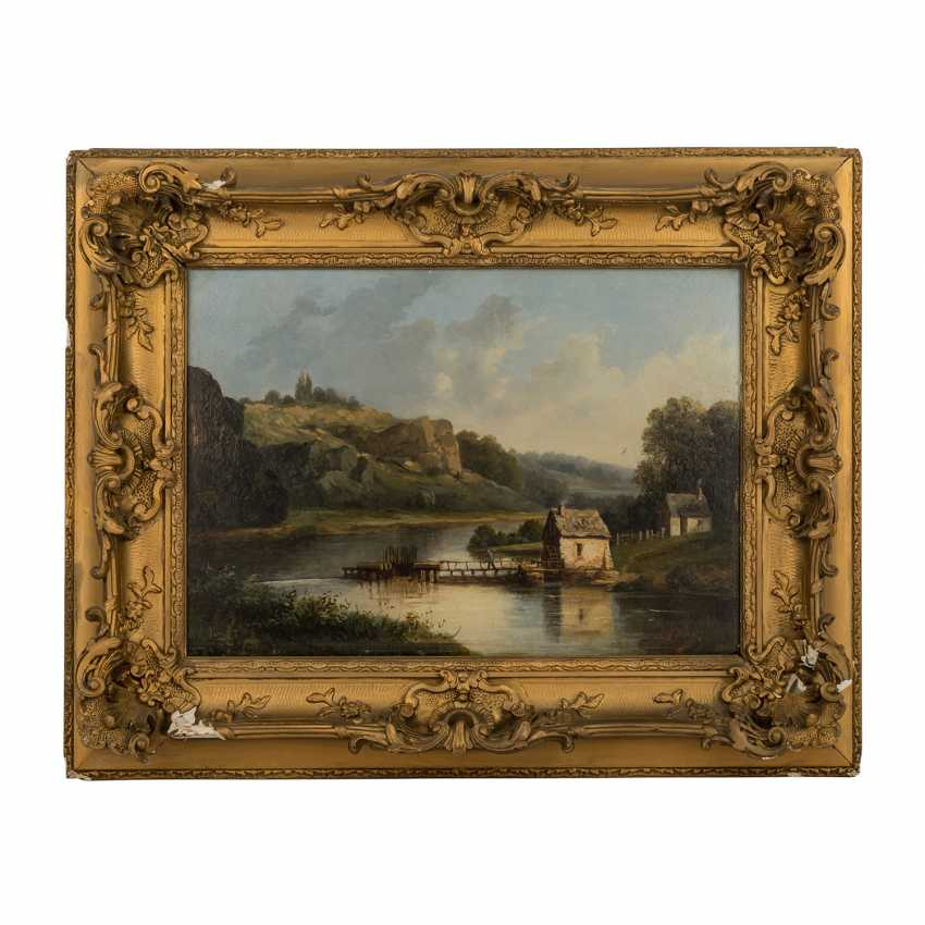 """VELAY, A. (painter/in 19./20. Century) """"cottages by the river in rocky hill landscape"""", - photo 2"""