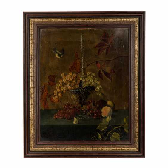 """PAINTER/IN 19. Century, """"autumn still life with grapes in a basket and fruits"""", - photo 2"""