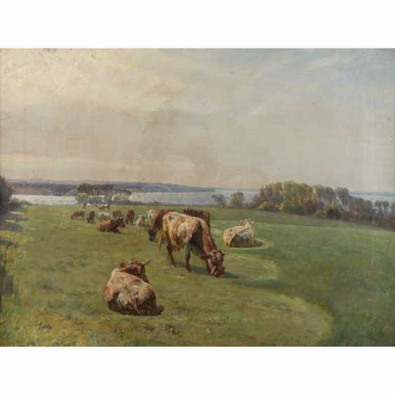 """MOLS, NIELS PEDERSEN (1859-1921), """"cows in the pasture in front of a lake"""", - photo 1"""
