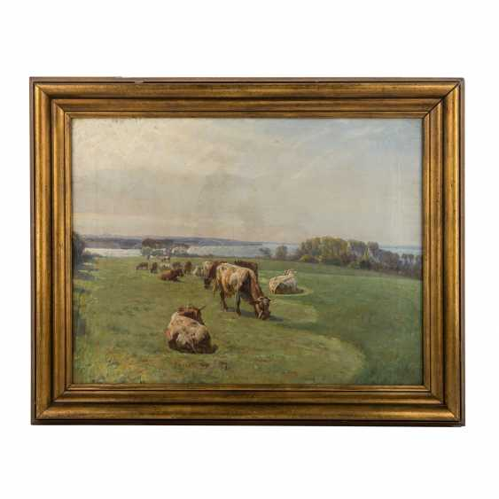 """MOLS, NIELS PEDERSEN (1859-1921), """"cows in the pasture in front of a lake"""", - photo 2"""