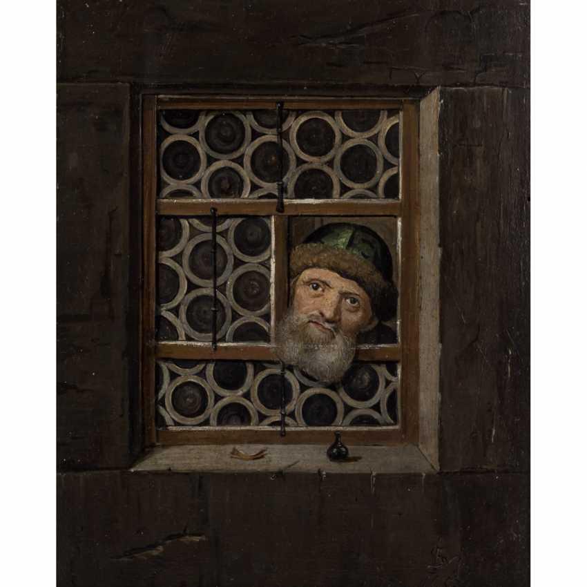 "Monogram mist, 17. Century, ""Mr with a green fur cap on the window"", - photo 1"